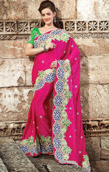 Magenta+Color+Art+Silk+Jacquard+Saree
