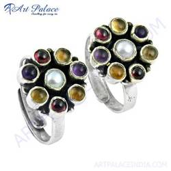 latest flower shape multi stone silver gemstone toe rings