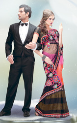 Ethnic Black And Pink Saree