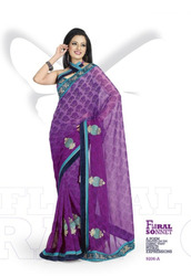Violet Printed Designer Sarees
