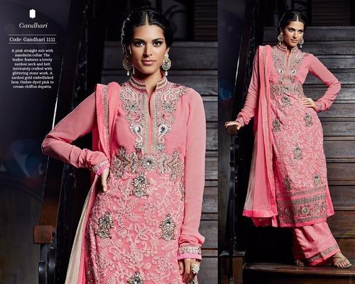Embroidered Party Wear Cotton Suit
