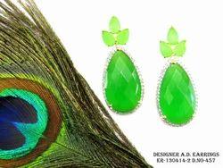Green American Diamond Earring