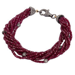 Ruby Gemstone Tassel Bracelet Jewelry