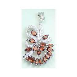 Garnet Silver Pendant