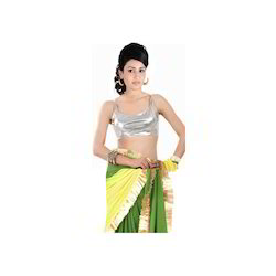 Silver Metalic Stretched Polyester Lycra Saree Blouse