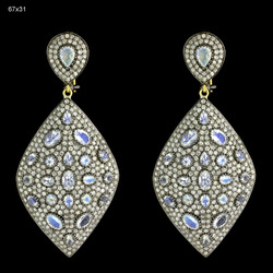 Pave Diamond Gemstone Earrings Jewelry