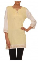Lemon Colored Short Kurta With A Floral Print Border