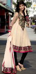 Light Fawn Georgette Churidar Kameez with Dupatta