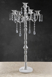 Glossy white 5 Light Candelabra with Crystals