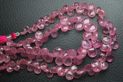 3 x 8 inches Pink Sapphire Faceted Heart Shape Briolettes