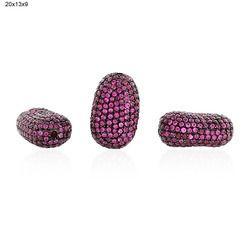 Precious Ruby Silver Beads