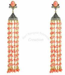 Orange+Gemstone+Tassel+Earrings