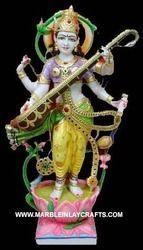Marble Saraswati Standing Statue