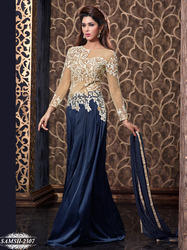Blue Satin Salwar Suit