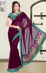 Dark+Purple+Faux+Chiffon+Party+Wear+Sari+Saree