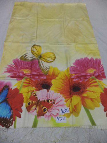Silk Shawl With Digital Print Floral Border