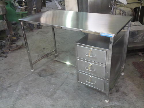 Stainless Steel Table with 3 Drawers