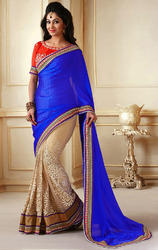 Royal+Blue+%26+Beige+Art+Row+Silk+%26+Net+Saree+with+Blouse