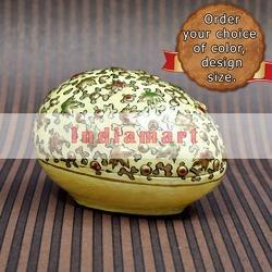 Paper Mache EggBox - Embossed Golden Chinar on White