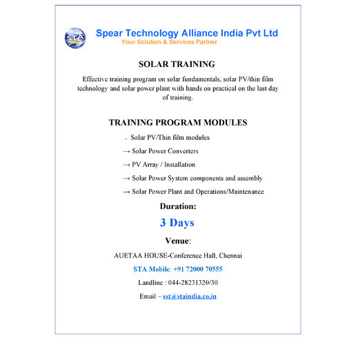 3 Days Trading Program on Solar PV/Thin Film Technology