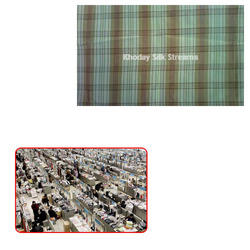 Checked Silk Fabric for Garment Industry