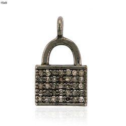 pave diamond padlock pendant