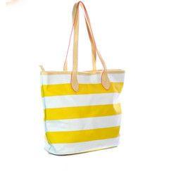 Yellow and White Tote Bag