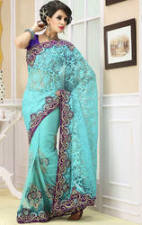 Blue+And+Black+Faux+Chiffon+and+Georgette+Saree