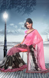 Black+and+Pink+Faux+Georgette+Saree+With+Blouse
