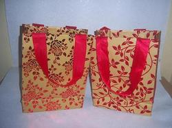 Foil Stamped Handmade Paper Bags with Ribbon Handles