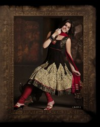 Readymade Suit Red Black Anarkali