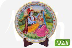 Vaah Marble Radha Krishna Plates with Wooden Stand