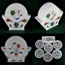 Marble India Inlay Coaster Set - Ethnic Tableware