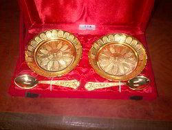 Gold Plated Round Plates With Spoon