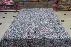 Kantha Quilt Queen Gudri Multi Ikat Bed Cover