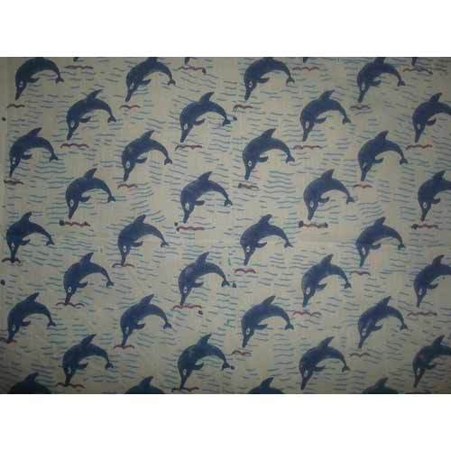 Whale Print On Cotton Voile