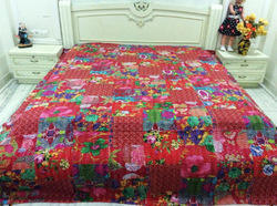 Kantha Multi Patch Red Bed Cover
