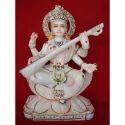 Goddess Saraswati Maa Marble Statue On Lotus