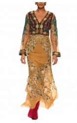 Silk Georgette and Silk Duppion Embroidered Long Tunic Dress