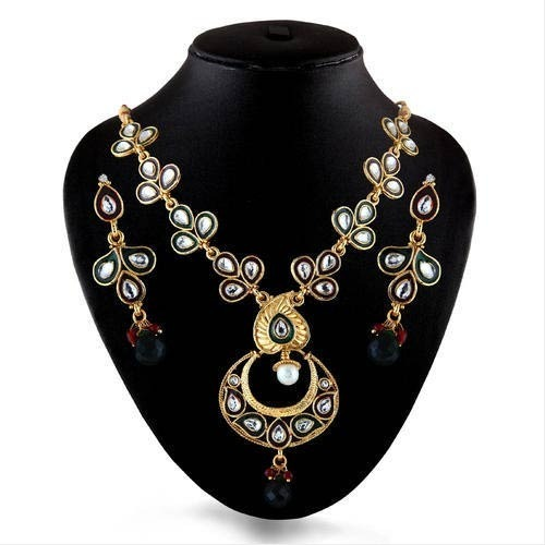 Kundan And Meenakari Linking Necklace Set