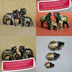 Hand Painted Decorated Elephant Family Made of Paper Mache