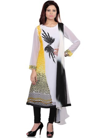 Designer Long Printed Embroidered Kurta