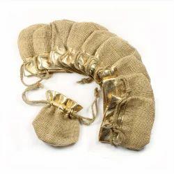 Jute Golden Pouch Jute Bag