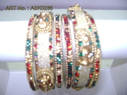 Hyderabadi Bangle With Green And Red Stones