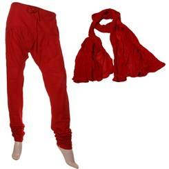 Pompeian Red Chudi Bottom & Cotton Duppata