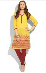 Cool Yellow Screen Print Kurta