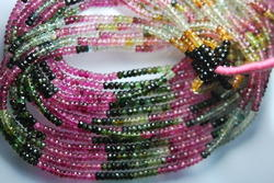 AAA Multi Tourmaline Faceted Rondelles Beads,Size 3-3.25 mm