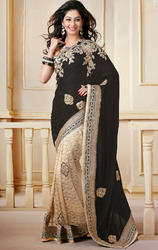 Black+and+Beige+Color+Velvet+and+Net+Designer+Sarees