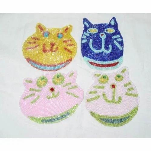 Cat Shape Beaded Coaster
