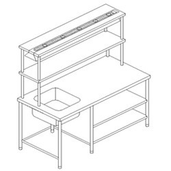 SS.Work Table with Sink & 2 U/s & Ohs & Radiation Reflectro